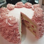 Custom Item: Vanilla Cake with Strawberry Swiss Meringue Buttercream and Fresh Strawberry and Cream Filling