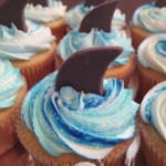 Custom Item: Vanilla with Vanilla American Buttercream and Custom Shark Toppers