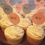 Custom Item: Vanilla with Vanilla American Buttercream. Custom Gender Reveal Toppers.